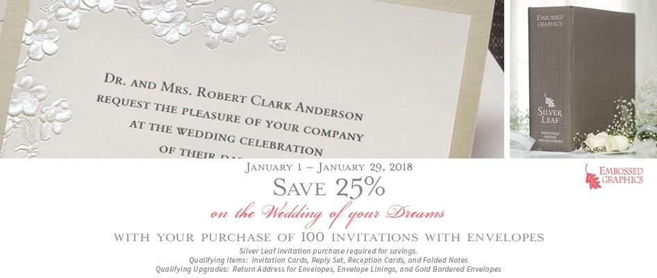 eg sale Silver Leaf wedding invitations- january 2018